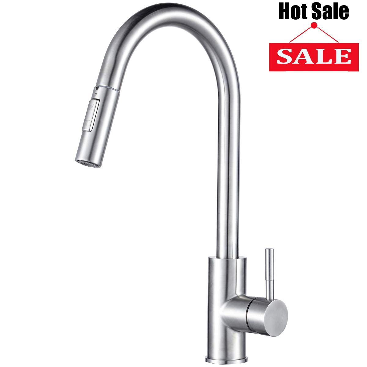 Visen Kitchen Faucet High Arc Stainless Steel Single Lever Handle Faucet with Pull Down Dual Function Sprayer and Water Temperature adjustment, Durable Valve, 360° rotation, Brushed Nickle Finished
