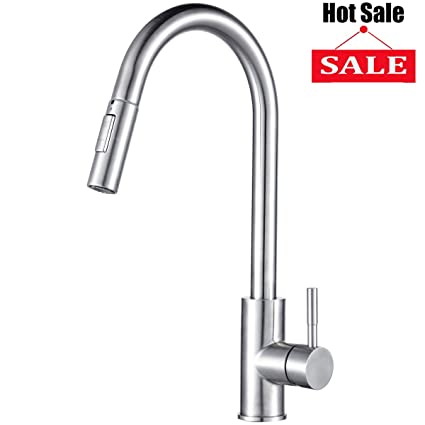 Visen Kitchen Faucet High Arc Stainless Steel Single Lever Handle Faucet  with Pull Down Dual Function Sprayer and Water Temperature adjustment, ...