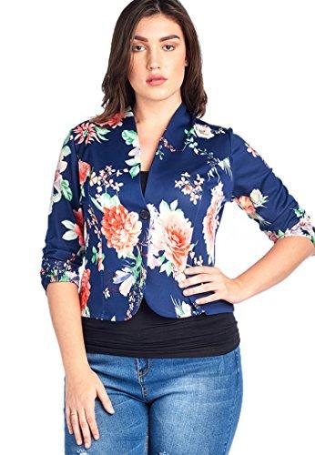 Bubble B Women's Plus Size Floral Print Blazer Button Front Jacket Lt Navy 3X