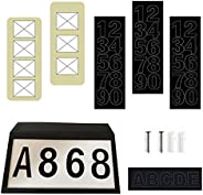 OSALADI House Numbers Solar Powered Address Sign Set Lighted Address Sign Lamp for Home Yard Street Garden Doo