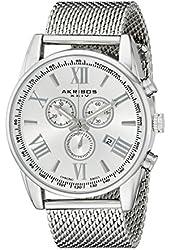 Akribos XXIV Men's AK813SS Swiss Chronograph Quartz Movement Watch with Silver Dial and Stainless Steel Bracelet