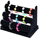 SunplusTrade Black Velvet Triple 3 Tier Necklace Jewelry Bangle Bracelet Organizer Holder Display Stand