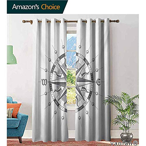 100% Blackout Curtains,CompassHand Drawn Compass with The Face of The Sun on Directions North South East West Sailing,for Bedroom,Grey,W84 xL108 -