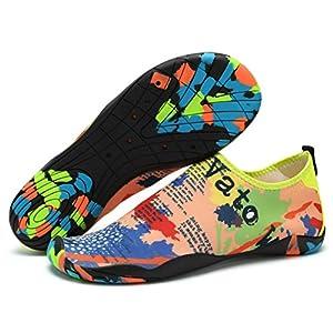 Lxso Men Women Water Shoes Multifunctional Quick-Dry Aqua Shoes Lightweight Swim Shoes With Drainage Hole (9.5US-Women/7.5US-Men=EU/FR 40, Yellow)