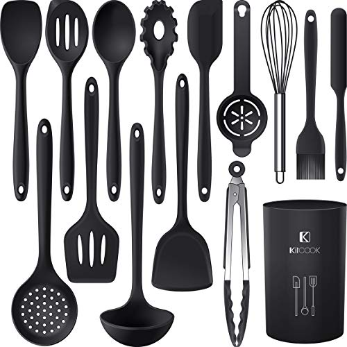 Silicone Cooking Utensils Set – 446°F Heat Resistant Kitchen Utensils,Turner Tongs,Spatula,Spoon,Brush,Whisk.Kitchen…