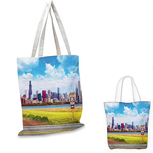 Chicago Skyline canvas messenger bag Historical Route 66 Highway Background with Skyscrapers Freedom Picture canvas beach bag Multicolor. 16