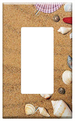 (Switch Plate Single Rocker/GFCI - Sea Sand Coast Beach Seashells Vacation Nature)