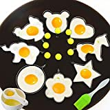Fried Egg Mold Ring Set of 10 - CHANMOL Stainless Steel Non-Stick Egg Shaper Ring with Silicone Pastry Brush and Egg Separator, Kitchen Cooking Tools for Kids and Lovers (Set of 10( Include Chick))