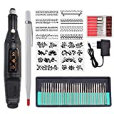 MUTOCAR Electric Micro Engraver Pen Mini DIY Engraving Tool Kit for Metal Glass Ceramic Plastic Wood Jewelry with Scriber Etcher 30 Bits and 16 Stencils
