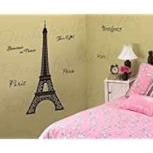 Wall Decal Letters Eifel Tower -Vinyl Graphic Paris France Welcome French-Sticker Art Large Sign Mural Bedroom Decor