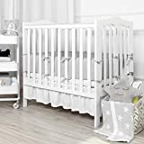 "TILLYOU Nursery Mini Crib Bumper Pads for Baby Boys Girls, Silky Soft & Safe Padded Crib Liner for Portable Cribs 24""x38"", Thick Crib Padding Protector for Slats (Machine Washable & Durable), Gray"