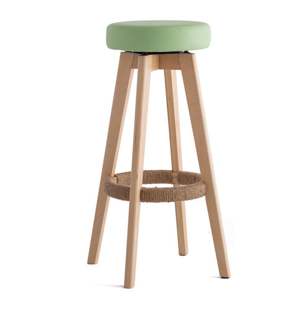 椅子、ソリッドウッドバーチェアバーチェアハイスツールホームソリッドウッドバースツールモダンシンプル回転ヨーロッパスタイルロング45cm×幅45cm×高さ65.5cm ( 色 : 緑 , サイズ さいず : HIGH74cm ) B076HGS9TS