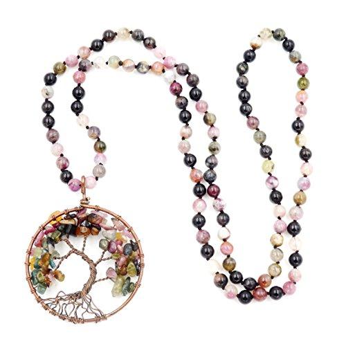 Gemstone Mala Beads Necklace, 108 Buddhist Prayer Beads Necklace, Hand Knotted Necklace (Tourmaline)