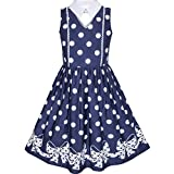 KZ85 Girls Dress Blue White Polka Dot Bow Tie Collar School Size 12