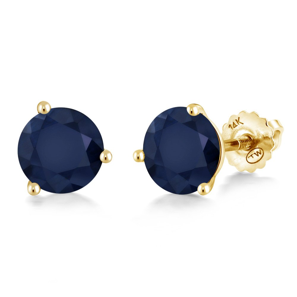 2.00 Ct Round 6mm Blue Sapphire 14K Yellow Gold Martini Setting Stud Earrings