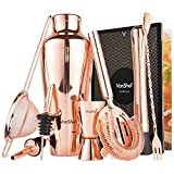 VonShef 9 Piece Cocktail Set – Parisian Copper Cocktail Shaker Kit in Gift Box with Accessories Including Glass, Jigger and Strainer