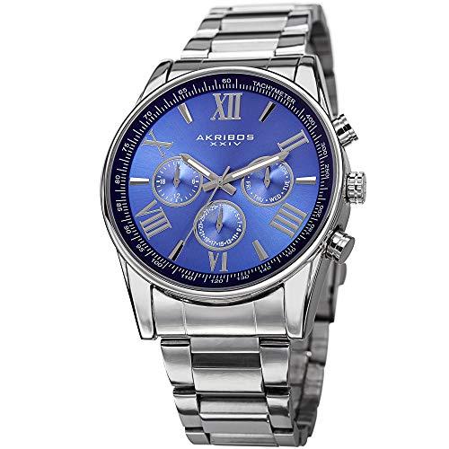 Akribos XXIV Men's AK736 Ultimate Swiss Quartz Multi-Function Stainless Steel Bracelet Watch (Blue on Silver)
