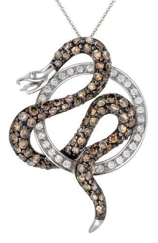 14k White Gold White Diamond Snake Pendant Necklace, 18″ (1.27 cttw)