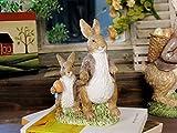 Tickos Easter Flocking Resin Rabbit Window Display Home Furnishings Props Shooting Rabbit Simulation Resin Flocking Rabbit Decorations (Father child rabbits)