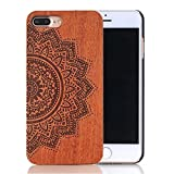"""Sunroyal 5.5 inch Natural Handmade Real Bamboo Redwood Slim Hard PC Bumper Flexible Ultra-thin Heacy Duty Protective Case Unique Stylish Cover for Iphone 7 Plus 5.5"""" Sunflower Totem Pattern"""