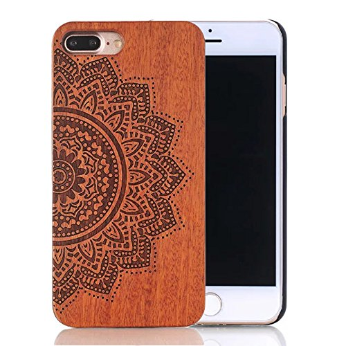 Sunroyal 5.5 inch Natural Handmade Real Bamboo Redwood Slim Hard PC Bumper Flexible Ultra-thin Heacy Duty Protective Case Unique Stylish Cover for Iph…