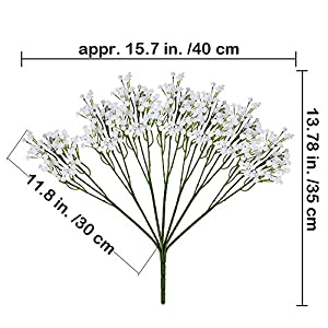 """Supla Pack 2 Baby's Breath Artificial 14 Forks,Total of 882 White Blooms Babys Breath Bulk Flower Bush Gypsophila Artificial in White -15.7"""" Tall for Wedding Wreath Boutonniere Flower Crown 2"""