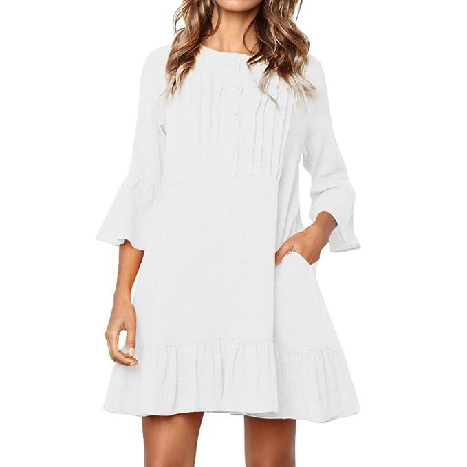 7c480319074a KOLY Donna Vestito Estivo da Beachwear Mini Casual da Tre Quarti Vestiti  Eleganti Estivi Vestito da