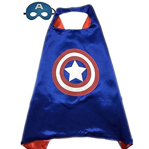 Calor Superhero or Princess Cape and Mask Set Halloween Dress Up Costume For Kids Childrens (Blue & Red (Captain America))
