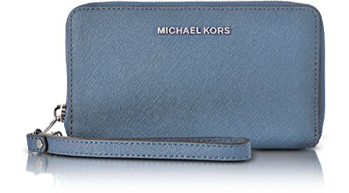 Michael Kors Giftables Jet Set Travel Flat Leather Phone Case (Sky Blue) by Michael Kors