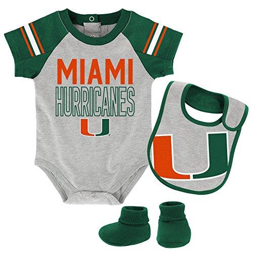 """OuterStuff NCAA Miami Hurricanes Children Boys""""Blitz"""" Onesie, Bib & Bootie Set, 18 Months, Heather Grey"""