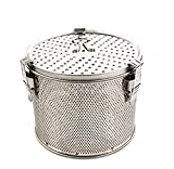 Minecook Commercial Grade D 6.3'' X H 5.3'' Genuine Stainless Steel 18/8 Perforated Tall Strainer - One Touch Lock System - Restaurant & Home Use - Extra Large