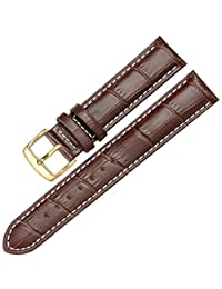 12-17mm Genuine Leather Ladies Womens Gold Buckle Wrist Watch Bands Strap Replacement (14mm, Brown & White Line)