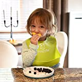 Set of 2 Colors Cute Silicone Baby Bibs for Babies & Toddlers (10-72 Months) by Panda Ear-Waterproof, Soft, Unisex, Non Messy
