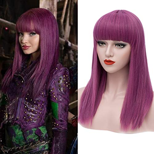 Mersi Long Purple Wigs for Kids Straight Cosplay Wig Anime Costume Party Wig -