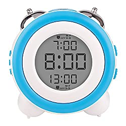 Egundo Digital Alarm Clock for Kids,Large Numbers Display Loud Alarm Clocks with Snooze and Night Light Battery Operated,Mini Cute Desk Table Decor Clock for Teens Girls Heavy Sleepers Bedrooms(Blue)