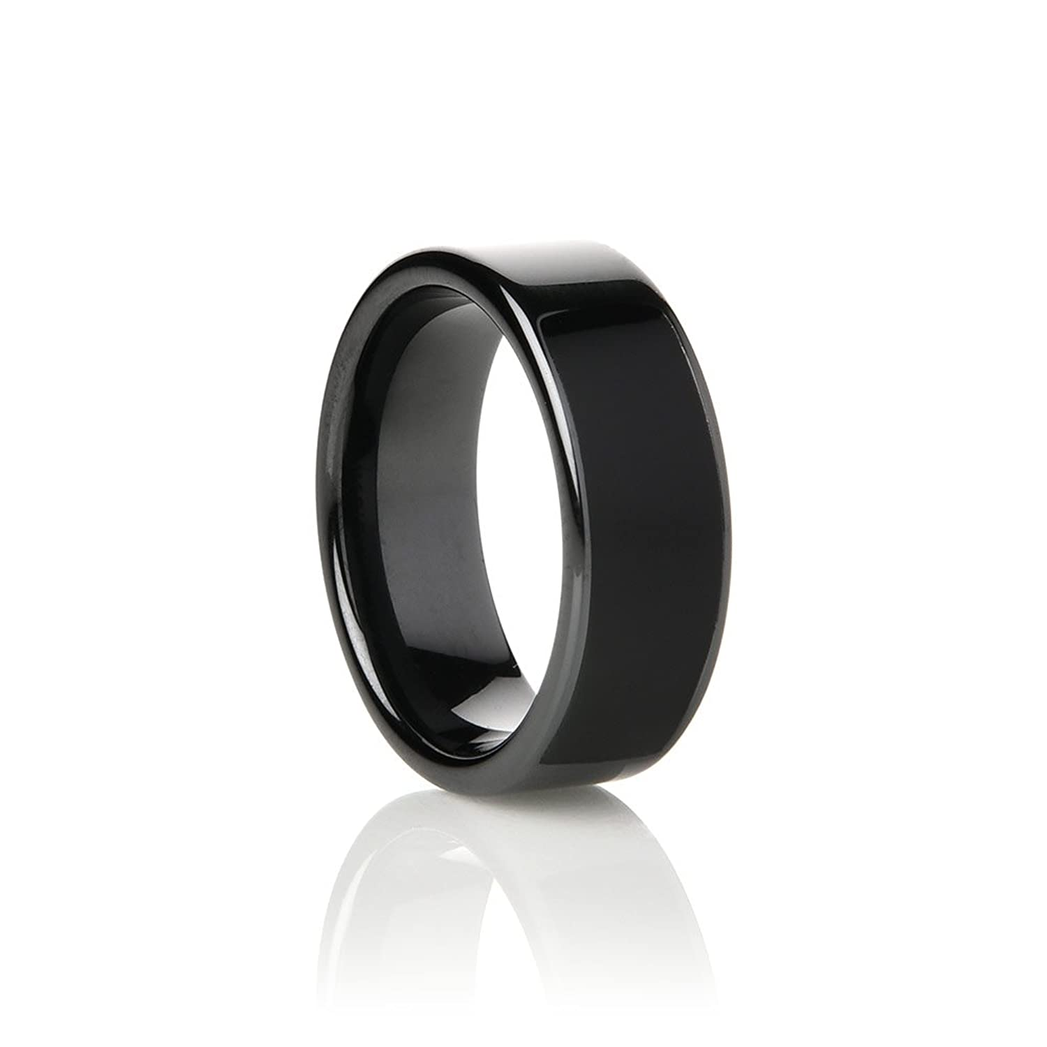 wedding s with ceramic fiber ring carbon size men inlay dp com red dome amazon band rings black