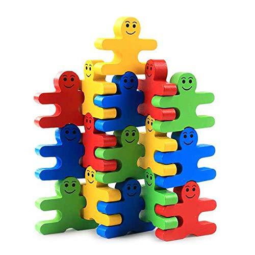 iwobi 16 Piezas Bloques de construcci/ón de Madera de Equilibrio Dibujos Animados Apilamiento Juguete para ni/ños Educativa Bloques de Apilamiento Puzzle