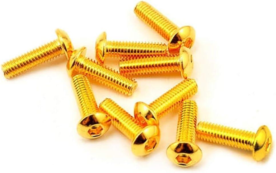 tama/ño : M3x14mm 10pcs La mitad de cabeza redonda Chapado de oro de titanio tornillo hexagonal M2 M3 M4 M5 M2.5 Hexagonal Tornillo 5-30mm Longitud