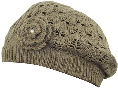 MINAKOLIFE Women's Super Soft Flower Laciness Knit Beanie Hat (Khaki)
