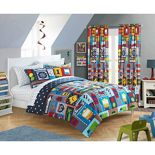 DP 7pc Boys Color Full Sized Busy Cars Transportation Comforter Set Racing Track Sheets, Red Yellow Gray Blue Kids Bedding Bedroom, Trucks Traffic Lights Vehicles Stars Printed, Polyester ()