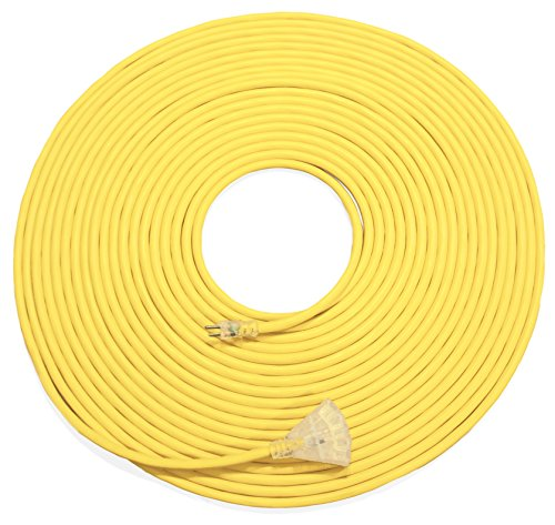 100ft 10 Gauge Heavy Duty Indoor/Outdoor SJTW Lighted Triple Outlet Extension Cord by Watt's Wire - 100' 10/3 Rugged Lighted Grounded Pigtail Power Cord - 10AWG 125Vac 15Amp 1875Watt by Watt's Wire (Image #6)