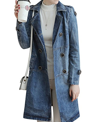 Tanming Women's Double Breasted Long Denim Jean Trench Coat Jacket (Medium, Blue)