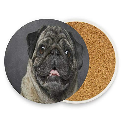 LoveBea Beige Sad Pug Dog Puppy Coasters, Protection for Granite, Glass, Soapstone, Sandstone, Marble, Stone Table - Perfect Cork Coasters,Round Cup Mat Pad for Home, Kitchen Or Bar Set of 2