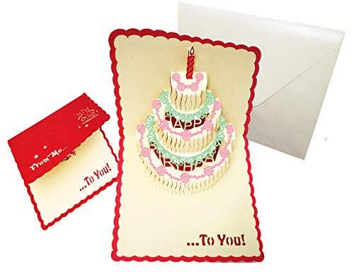Happy Birthday Cake Pop Up Greeting Cards Paper Postcard