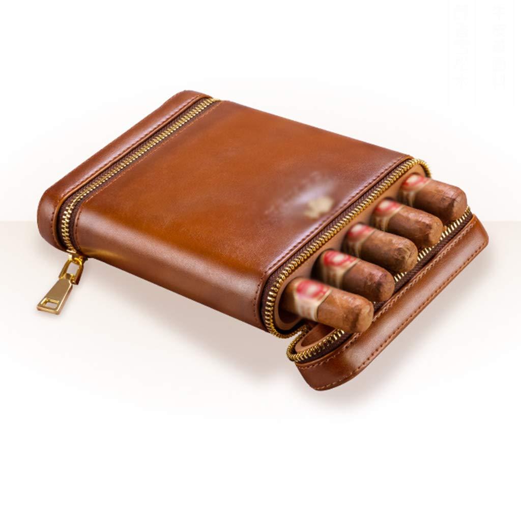 Cigar Moisturizing Leather Travel Portable Natural Cedar Cuban Cigar Moisturizing Cigarette Case Can Hold 5 Cigars