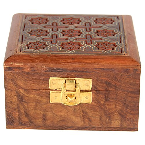 Indian Jewelry Holder - 4 x 4 x 2.25 Inch Small Wood Box - Jewelry Boxes for Bracelet - Present for Her by ShalinIndia (Image #5)