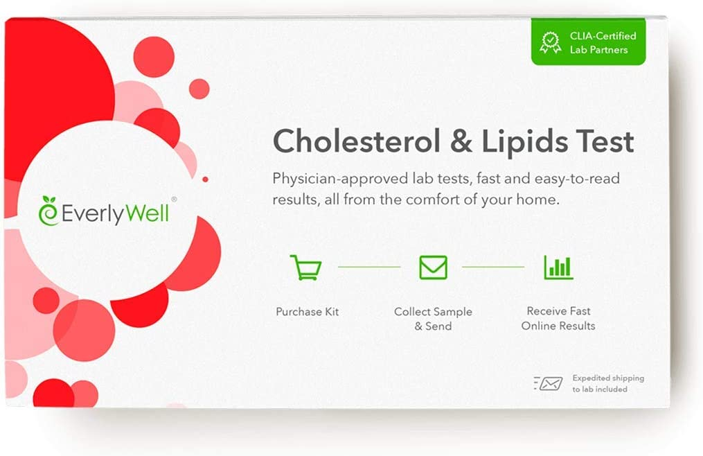 Everlywell Cholesterol and Lipids Test - at Home - CLIA-Certified Adult Test - Accurate Blood Analysis of HDL, LDL and Triglyceride Levels - Not Available in NY, NJ, RI