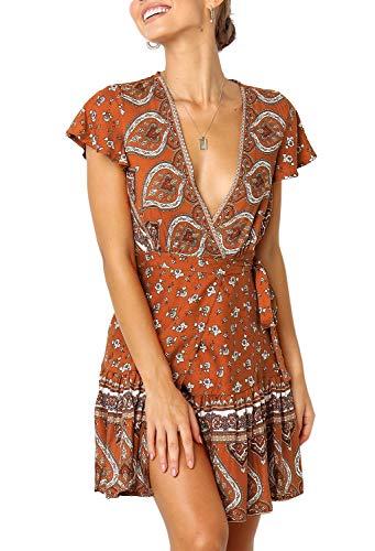 (ZESICA Women's Summer Wrap V Neck Bohemian Floral Print Ruffle Swing A Line Beach Mini Dress Tangerine)
