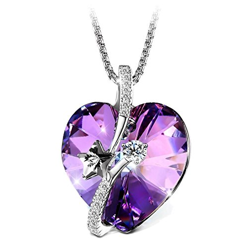 T400 Jewelers Shooting Star Heart Necklace for Women (Crystal Vitrail Light) ()