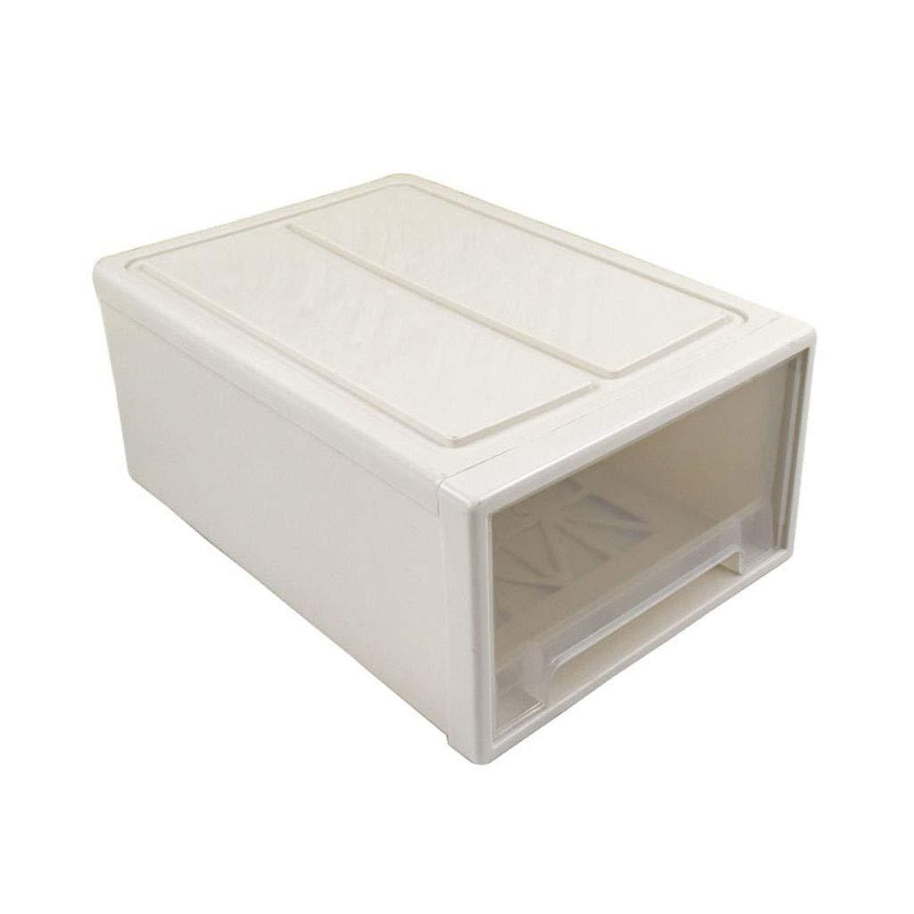LDG 積み重ね可能 トランスペアレント プラスチック 収納ボックス、 引き出し 折りたたみ式 容器 クローゼット 大 装飾ボックス、 2パック (色 : ベージュ, サイズ さいず : 47cmx32cmx21cm) B07PYVP5H2 ベージュ 47cmx32cmx21cm